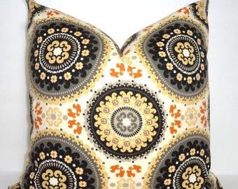 FALL is COMING SALE Outdoor Pillow Black Yellow Medallion Suzani Print Cushion Cover Porch Decorative Pillow 18x18