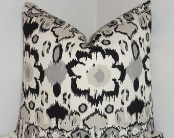 FALL is COMING SALE Black & Grey Ikat Pillow Cover Throw Pillow Cover Grey Black Flower Pillow Cover Decorative Black Floral  All Sizes
