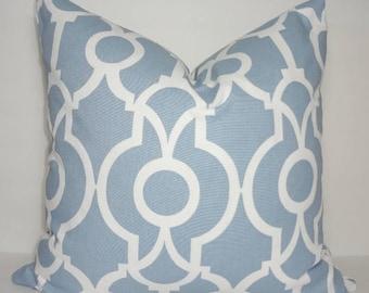INVENTORY REDUCTION Cashmere Blue & White Lyon Geometric Pillow Cover Decorative Pillow Cover Size 18x18