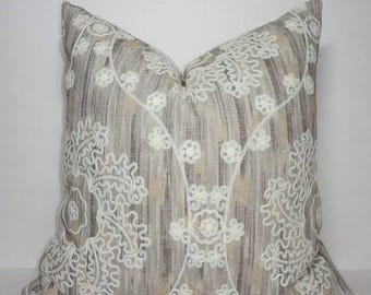 SPRING FORWARD SALE Elegant Embroidered Floral Medallion Taupe Ivory Design Home Decor by HomeLiving Pillow Cover Size 18x18
