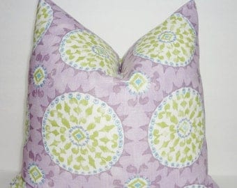 SPRING FORWARD SALE Dena Designs Johara Heather Linen Blend Lavendar Lime Suzani Circle Throw Pillow Cover 18x18