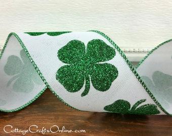 "St Patrick's Wired Ribbon, 2 1/2"",  Shamrocks Green Glitter on White Faux Linen - TEN YARD ROLL - ""Bold Shamrock"",  St Patrick's Day Ribbon"