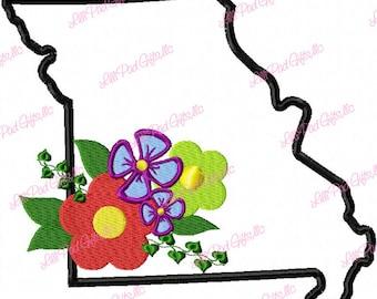 Missouri-Flowers - Applique - Machine Embroidery Design - 5 Sizes