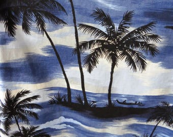 Vintage Mens Blue Hawaiian Aloha Shirt by RJC Ltd - Size XL - Evening in Hawaii - Palm Trees Outrigger Canoes - Luau Cruise Tiki Party