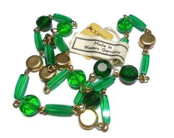 Vintage Coro Choker Green Glass Pegasus NBW 1960s Made in West Germany
