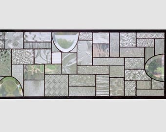 Clear glass transom stained glass window panel geometric abstract stained glass panel window panel large 0309 28 3/4 x 10