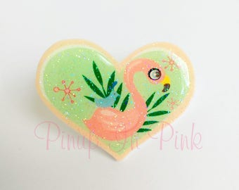 Flamingo Heart Pin