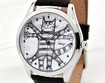 Brother Gift   Vitruvian Cat Leather Watch   Christmas Gifts For Him   Cat Lover Gift   Women's Gifts   Girlfriend Gift   FREE SHIPPING