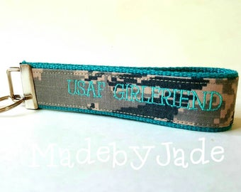 USAF Girlfriend Custom Key Fob in Teal