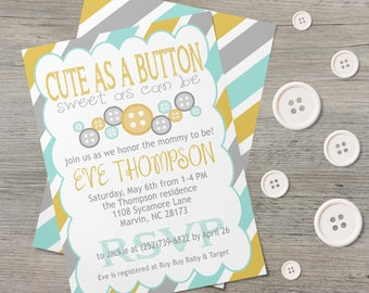 Cute As A Button   Baby Shower Invite   Shower Invitation   Gender Neutral   Girl
