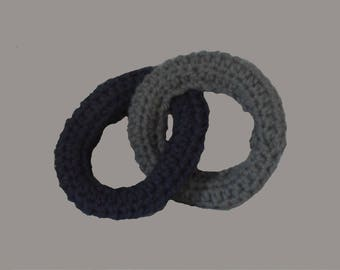 Crochet Dog Toy Rings. Connected yarn ring toys. Grey and Dark Blue. Hand made.