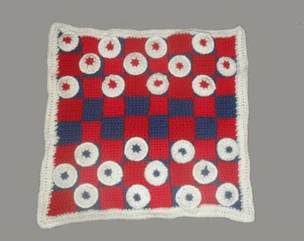 Forth of July themed Checkers Travel Game. Hand Made Crocheted Game. Summer Fun.