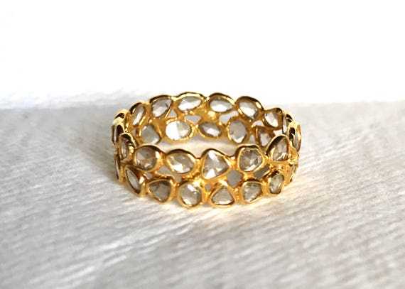 Double diamond eternity band in solid 18k gold