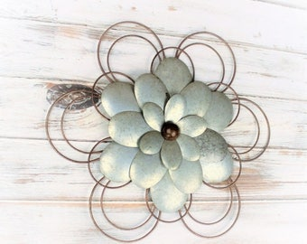 SALE Metal Flower Decor - Galvanized Wall Decor - Metal Wall Art - Metal Wall Decor - Farmhouse Decor - Fixer Upper Market - Farmhouse Style