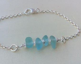 Sea Glass Stack Sterling Silver Bracelet