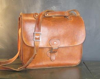 Vintage Brown Leather Attache Laptop Case Shoulder Strap Briefcase Compartments