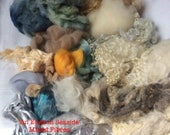 Dyed Mixed Wools and fibres for Blending. 140gms. Spinning & Felt Making supply. Shetland, Teeswater, silk. 'An English Seaside ' colourway