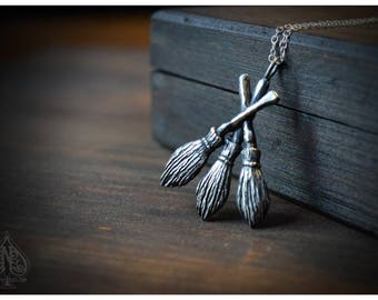 Broomsticks Sterling silver Brass witches pendant Moiras