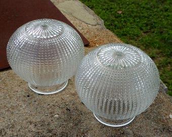 vintage glass porch light shades pair bubble ribbed round clear glass clear round light shade