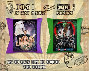 Borzoi Pillow/Russian Wolfhound/Borzoi Portrait/Borzoi Art/Custom Dog Portrait/Movie Poster/GhostBusters/The Witches of Eastwick