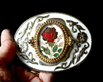 Men's Fancy Belt Buckle Rose Design Silver and Gold with Pair of Matching Collar Tips Western Square Dance Round Dance Apparel Accessories