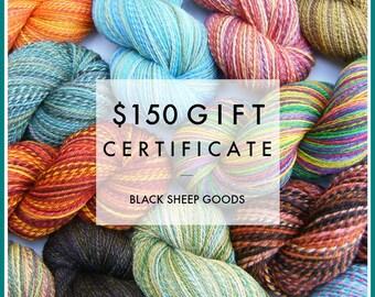 Gift Certificate - 150 Dollars - Handspun yarn gift certificate, gift for knitter, weaving yarn, Christmas gift for her