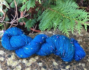 """100grms hand painted fingering weight yarn Merino /Donegal  nep """"night"""""""