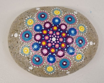 Hand Painted Rock with Geometric Design 034