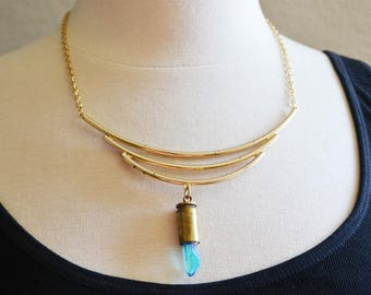 Rough Blue Crystal Bullet Vintage Collar Necklace