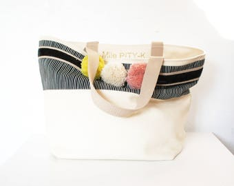 """Tote bag with glitter, stripes  fabric and pompons made in cotton """"Circus""""// schoolbag// office  bag // Big Bag"""