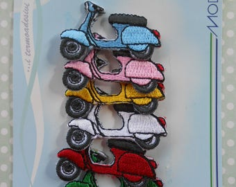 Iron on Embroidered Italian Vespa Scooter 6 pcs