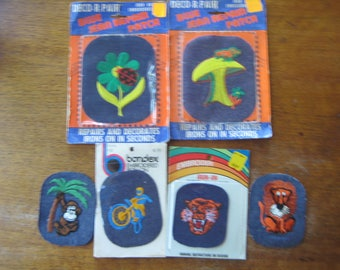 70's vintage Iron-on appliques knee patches Lot