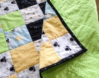 Modern Baby Boy Quilt, Handmade Lamb Baby Blanket, Susybee Fabric Quilt, Boy Sheep Crib Bedding, Green and Yellow Nursery Quilt