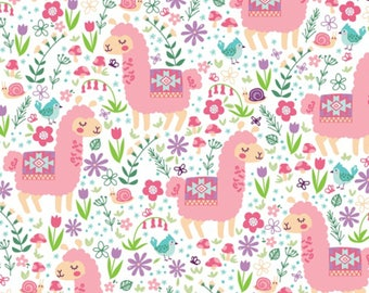 Pink Llama White Background Anti-pill Fleece #WFP46334-1 From Baum Winter Fleece Collection 100% Polyester, 58/60 inches wide-1&1/2 yard cut