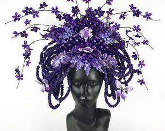 Purple Flower Headdress Headpiece