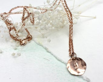 Personalized Rose Gold Initial Disc Necklace, Hand Hammered Initial Disc Necklace, Single Initial Necklace, Small Initial Disc Necklace