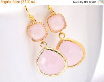 SALE Pink Earrings, Glass Earrings, Gold Earrings, Ice Pink, Soft Pink, Light Pink, Wedding Jewelry, Bridesmaid Earrings, Bridal Bridesmaid
