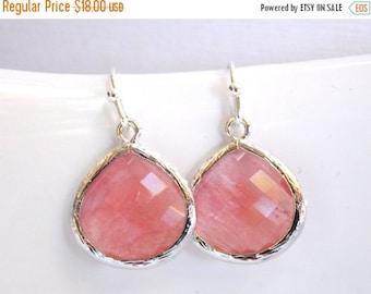 SALE Coral Earrings, Glass Earrings, Peach, Bridesmaid Jewelry, Silver, Pink, Grapefruit, Bridesmaid Earrings, Bridal Jewelry, Bridesmaid Gi