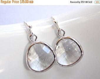 SALE White Earrings, Crystal Glass Earrings, Crystal Silver Clear Earrings, Bridesmaid Earrings, Bridal Earrings Jewelry, Bridesmaid Gifts