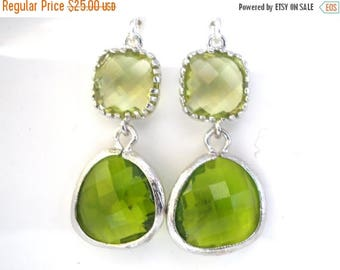SALE Green Earrings, Peridot Earrings, Apple Green Earrings, Silver Green Apple, Wedding, Bridesmaid Earrings, Bridal Jewelry, Bridesmaid Gi