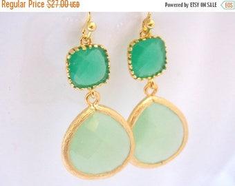 SALE Glass Earrings, Green Earrings, Mint Earrings, Mint Green, Gold Earrings, Bridesmaid Earrings, Bridal Earrings Jewelry, Bridesmaid Gift