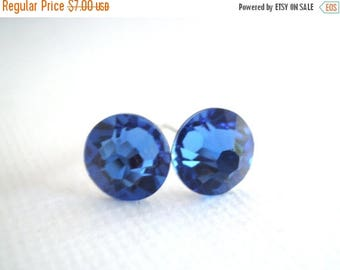 SALE Swarovski Crystal Stud Earrings, Blue Earrings, Blue Studs, Deep Blue, Crystal Earrings, Sapphire Earrings, Bridesmaid Gifts