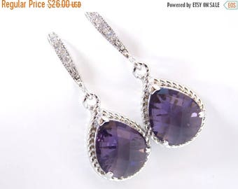 SALE Purple Earrings, Tanzanite, Zirconia, Silver, Wedding, Amethyst, Bridesmaid Earrings, Bridesmaid Gifts, Wedding Jewelry, Purple Wedding