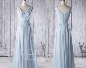 2017 Light Blue Chiffon Bridesmaid Dress, V Neck Wedding Dress, Long Baby Blue Prom Dress, V Back Women Evening Gown Floor Length (J025)