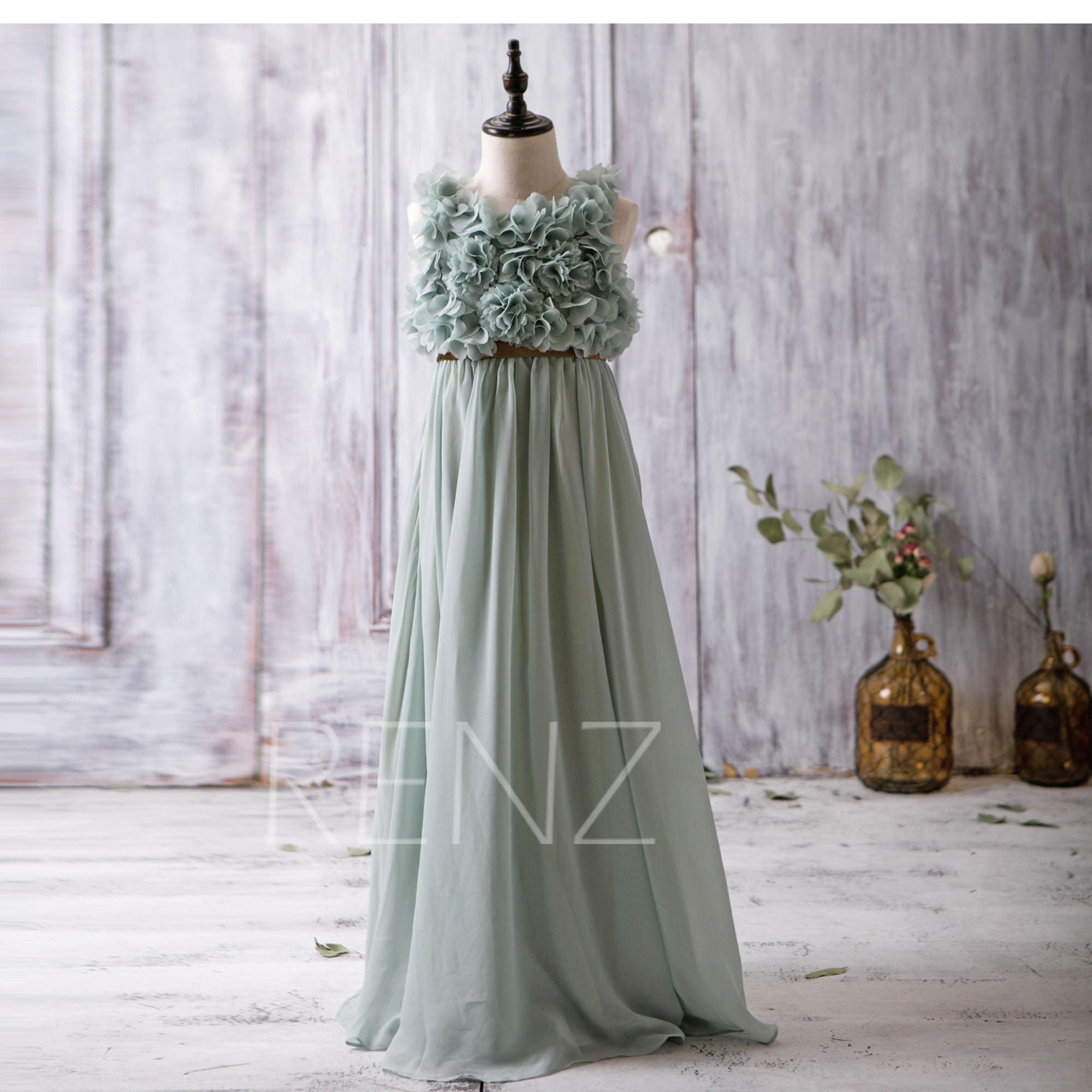 Dusty mint junior bridesmaid dress empire waist flower girl zoom ombrellifo Image collections