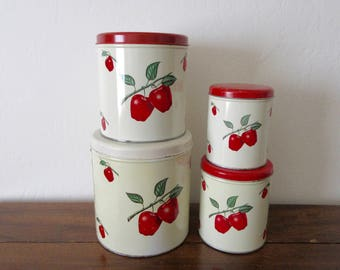 Tin Canister Set - Decoware - Apple Design - 50s' - Red Kitchen - Red - Red Apples