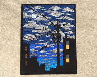 Under the Silvery Moon, 11x14 inches, original sewn fabric artwork, handmade, freehand appliqué, ready to hang canvas
