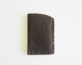 Distressed Rustic Dark Brown Leather Card Holder, upcycled from shoemaker's apron, chocolate, hand stitched, handmade, coffee, rugged, 2x4