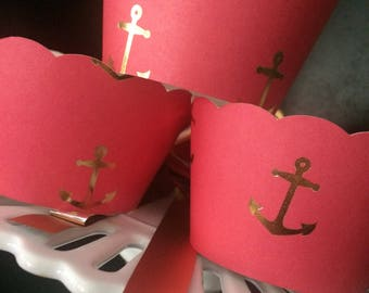 Red And Gold Foil Cupcake Wrappers