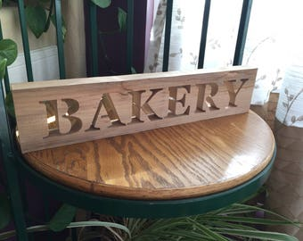 Bakery Sign - Rustic Sign - Rustic Bakery Wood Words Sign - Rustic Home Decor - Farmhouse Signs - Rustic Home - Wall Hanging - Wooden Words